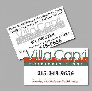 Villa Capri Business Cards