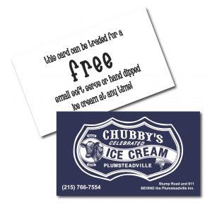 Chubby's Ice Cream Business Cards
